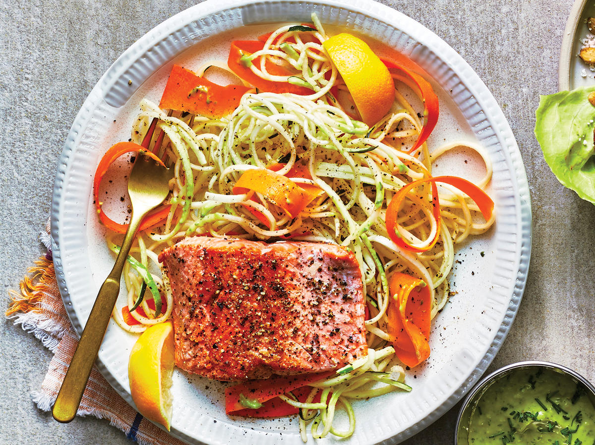 Day 2 Dinner: Seared Salmon With Zucchini Noodles