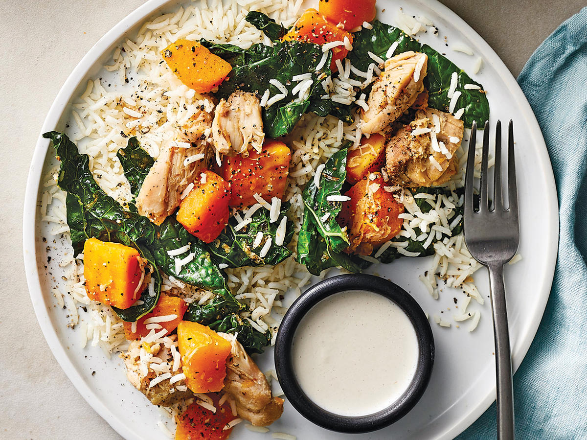 Day 1 Dinner: Tahini-Dressed Chicken With Squash and Kale