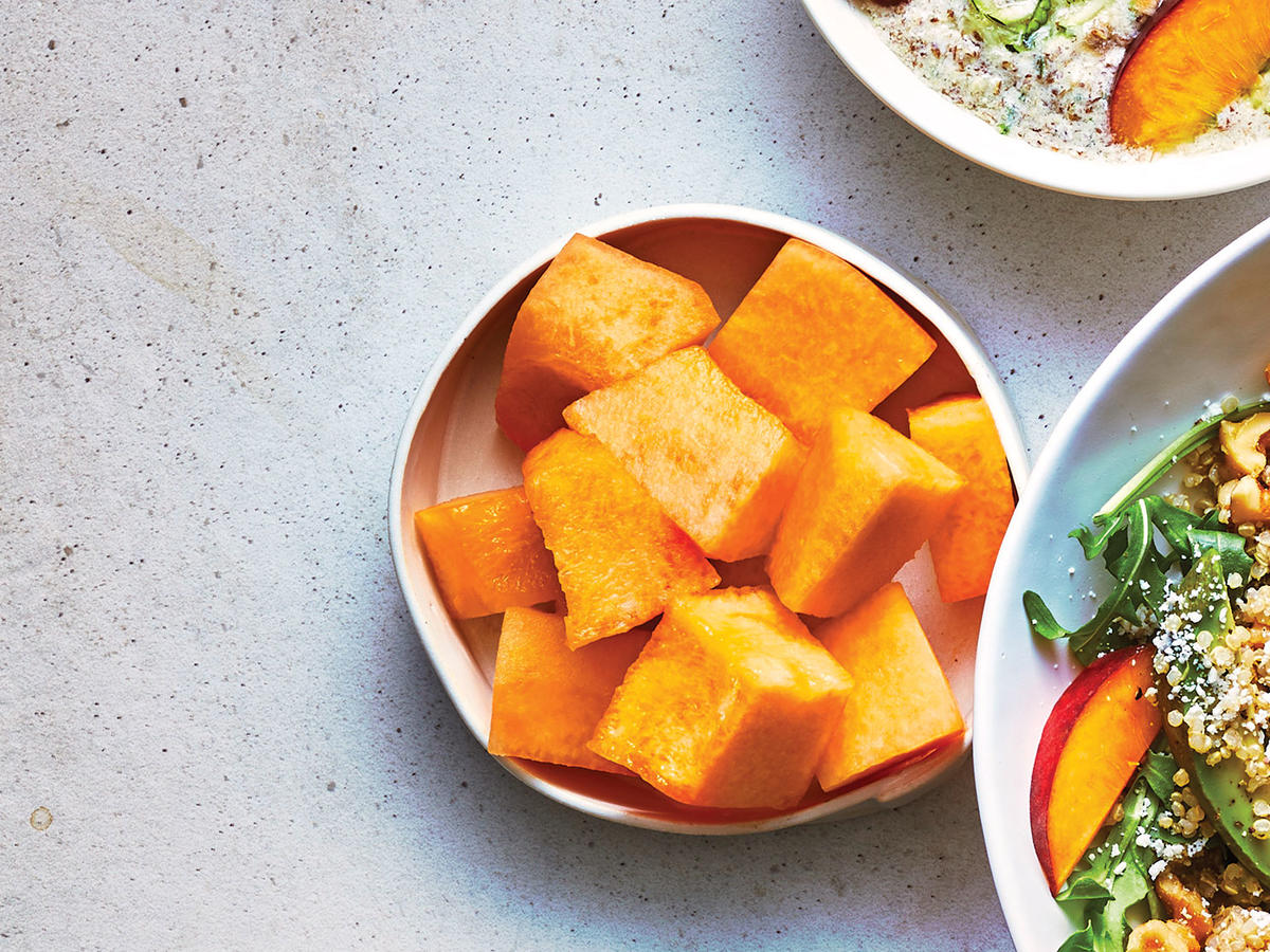 Day 1 Afternoon Snack: Cubed Cantaloupe