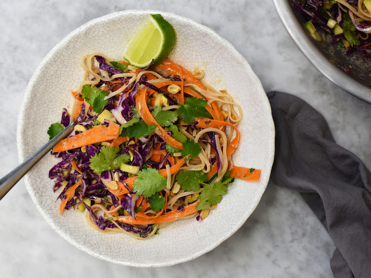 Cabbage and Rice Noodle Salad with Peanut-Lime Dressing
