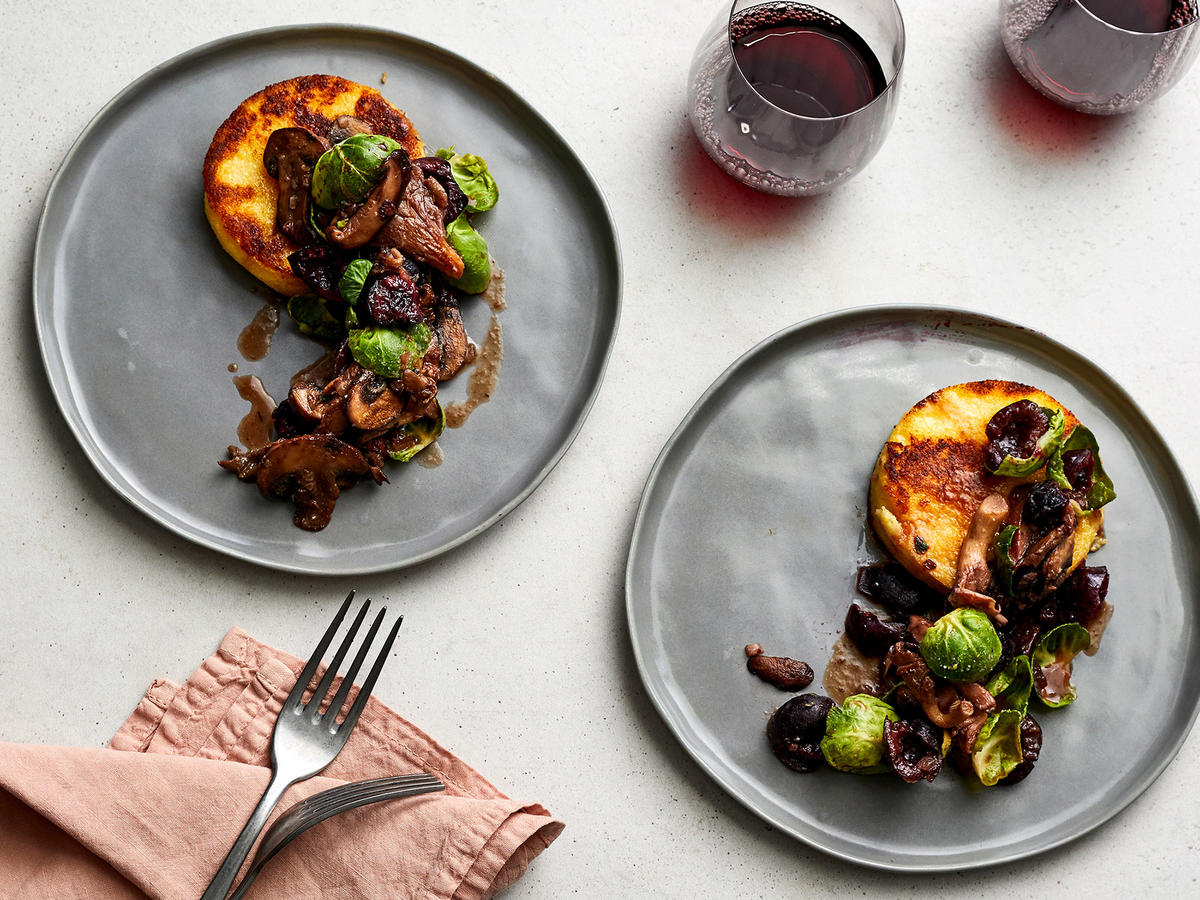 Crispy Polenta Cakes With Cherry-and-Mushroom Ragu