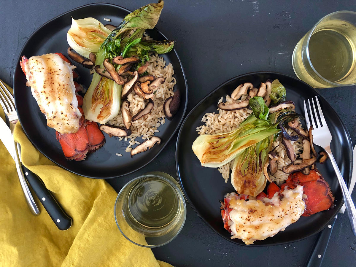 Miso-Glazed Lobster Tails and Sesame Bok Choy