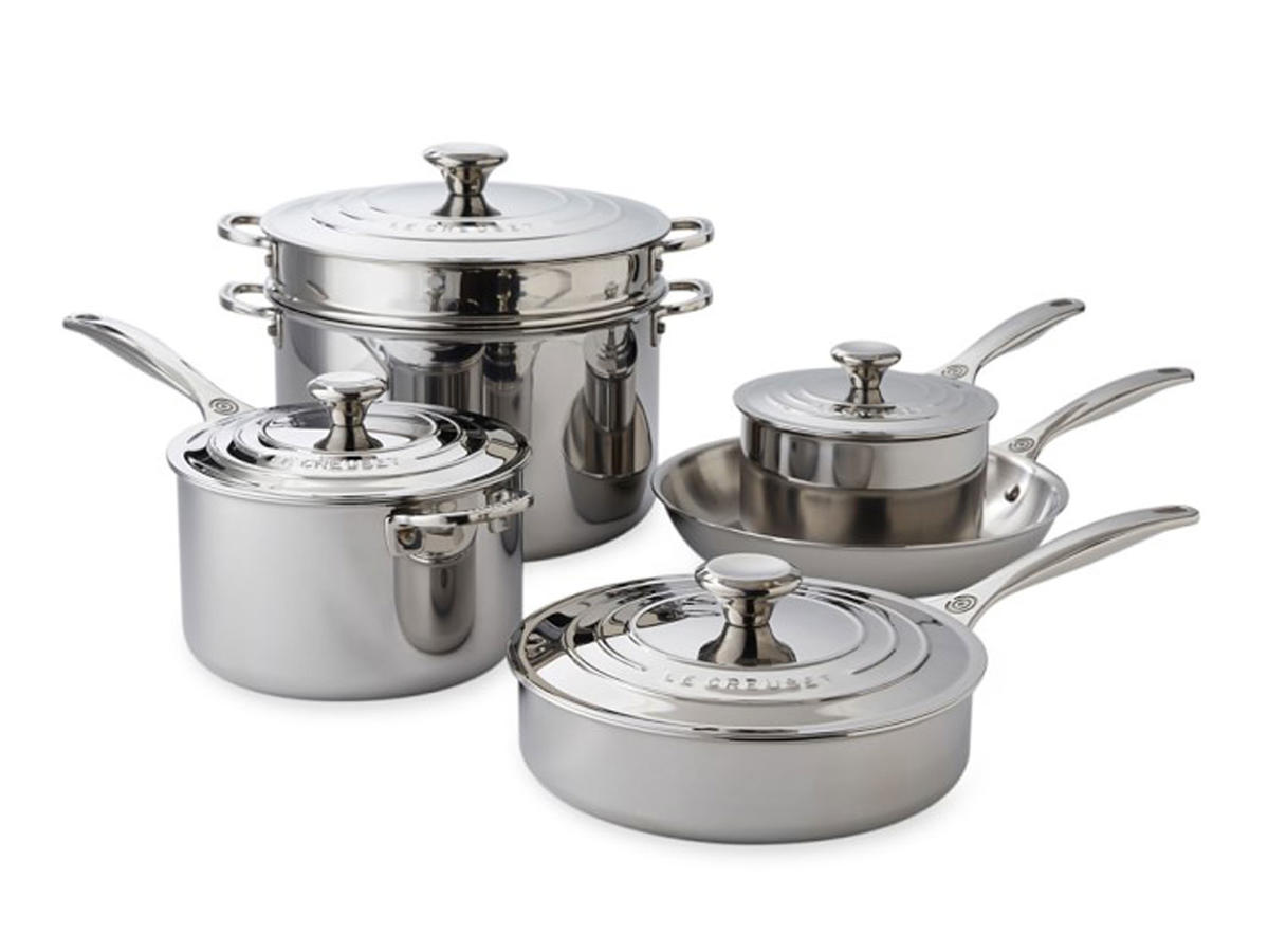 le cruset stainless steel pots and pans set