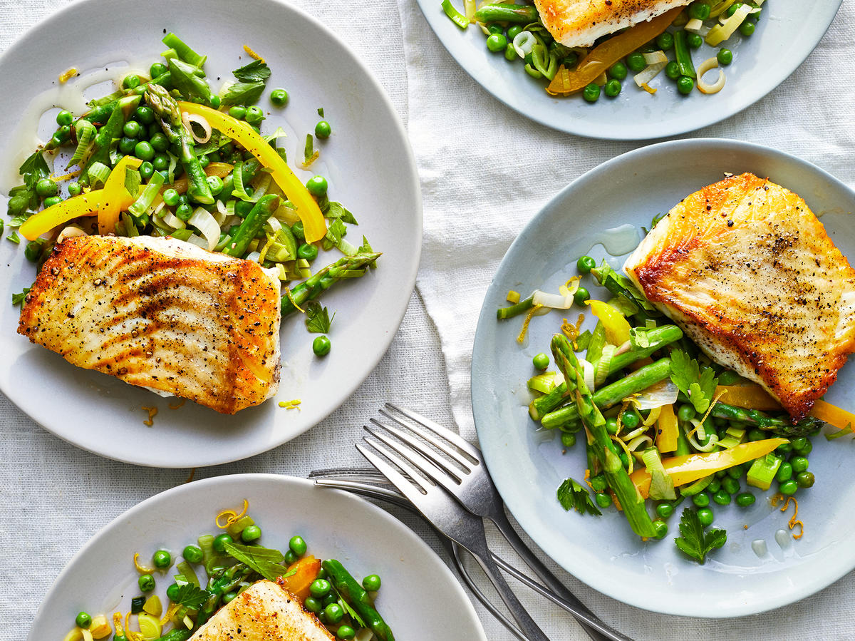 Pan-Seared Halibut With Spring Vegetables
