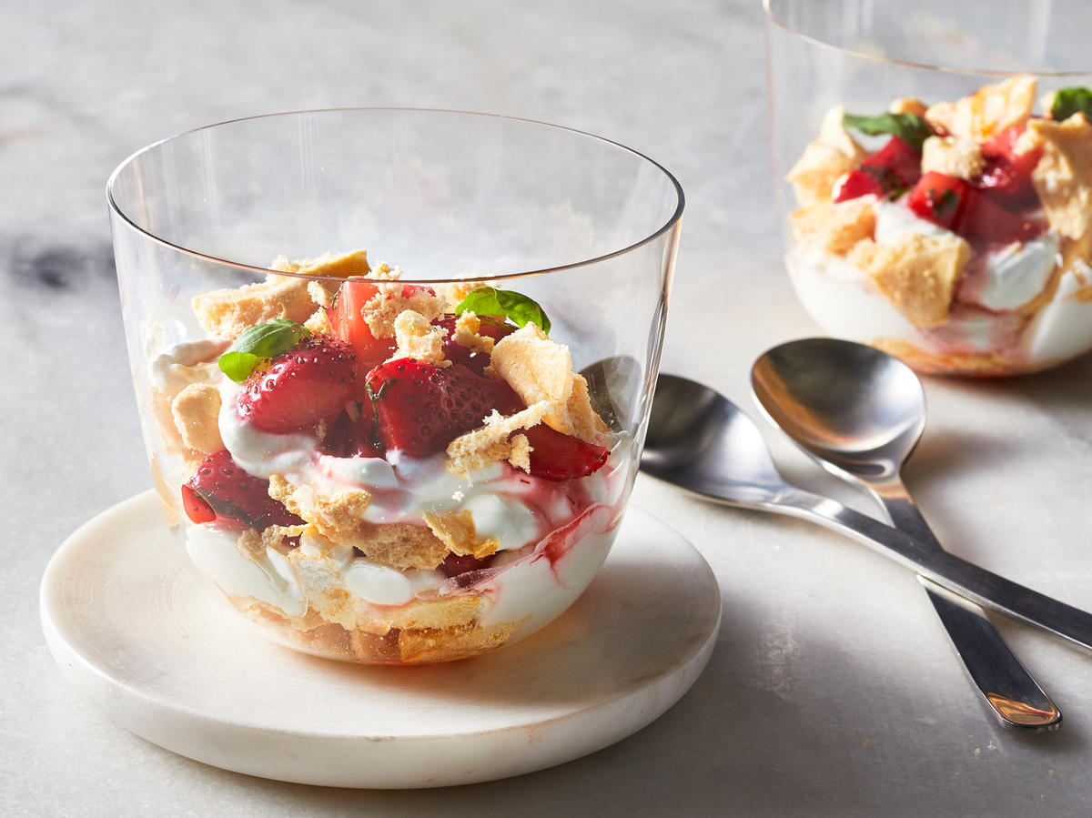 Strawberry-Basil Eton Mess