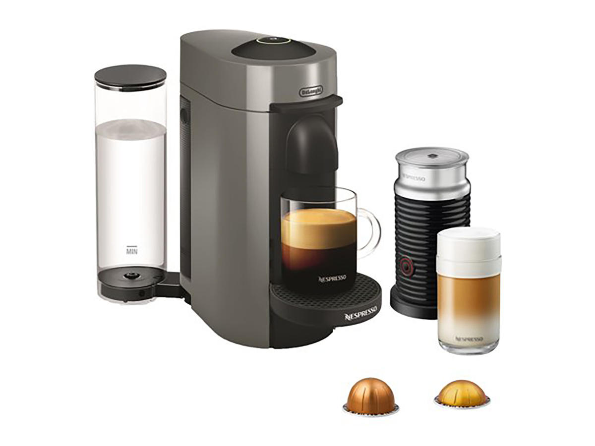 Nespresso VertuoPlus Coffee and Espresso Maker Bundle with Aeroccino Milk Frother by De'Longhi