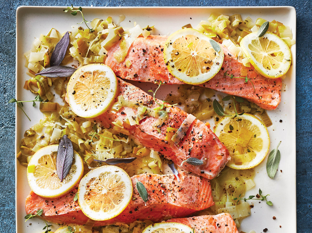 Slow Cooker Citrus Salmon With Melted Leeks