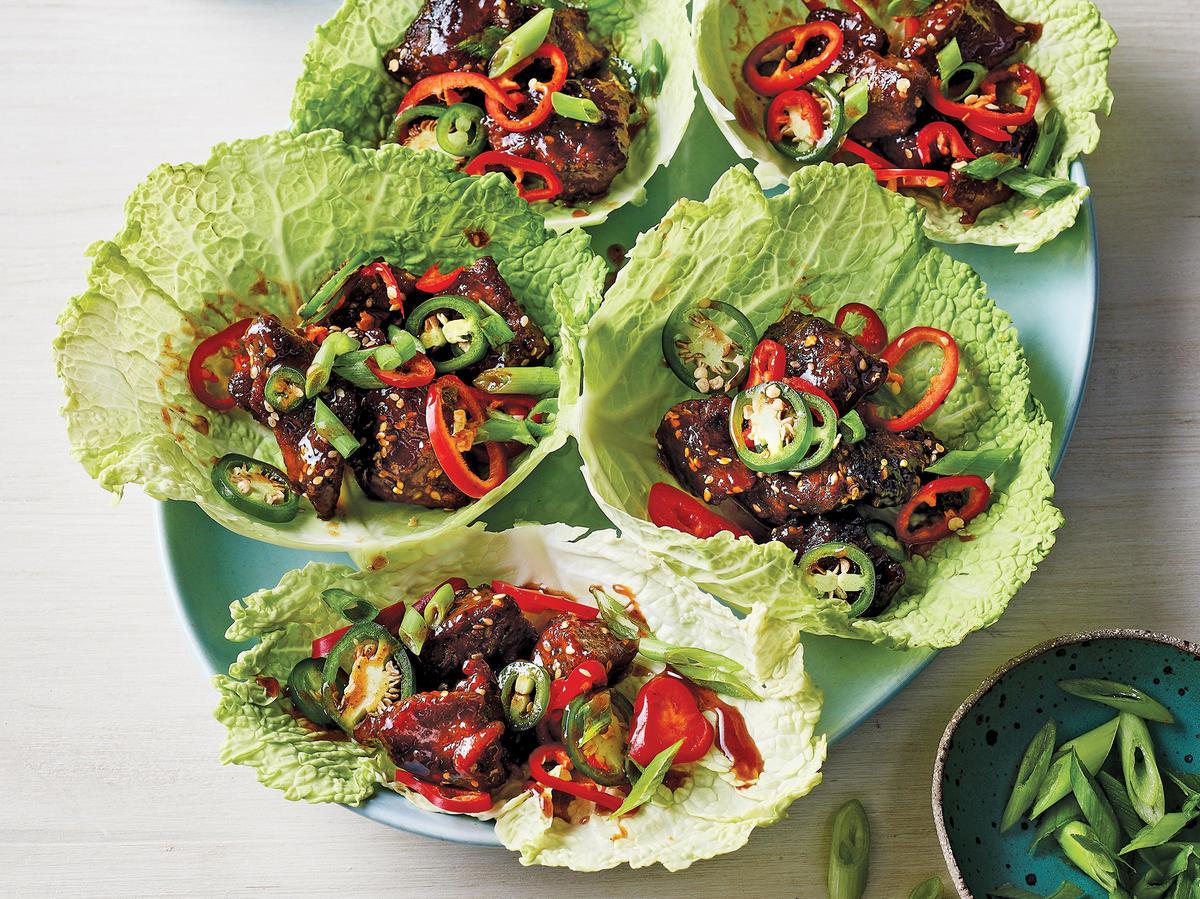Slow Cooker Korean Beef In Cabbage Leaves