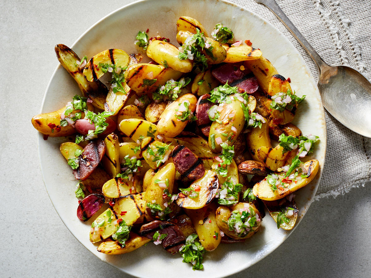 Grilled Fingerling Potatoes With Chimichurri