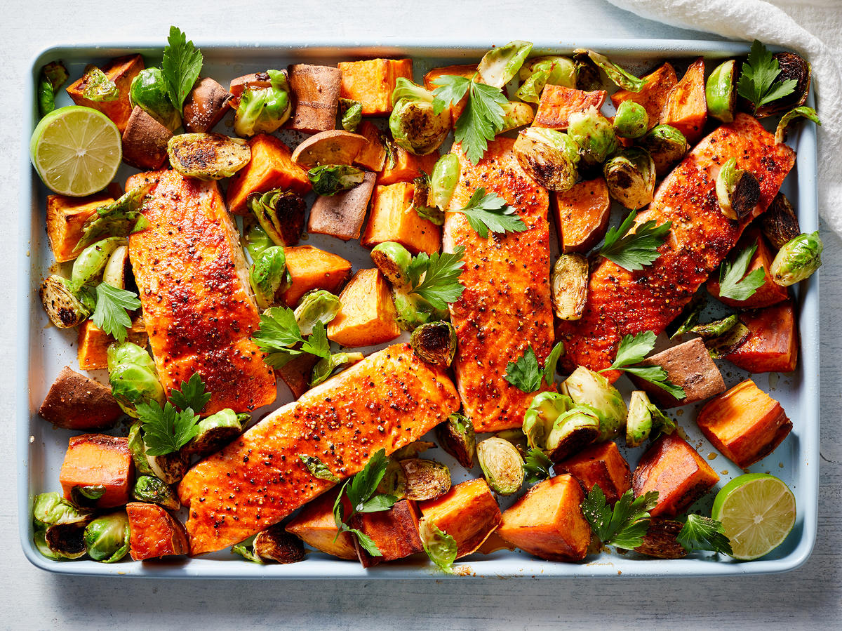 Blackened Salmon, Roasted Sweet Potatoes, and Brussels Sprouts Sheet Pan Dinner