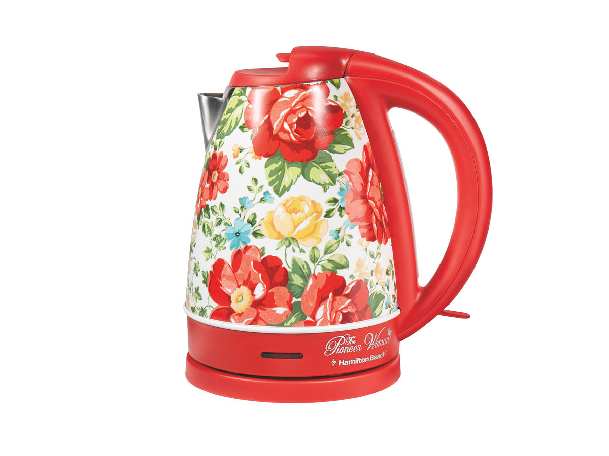 The Pioneer Woman Vintage Floral/Red Electric Kettle