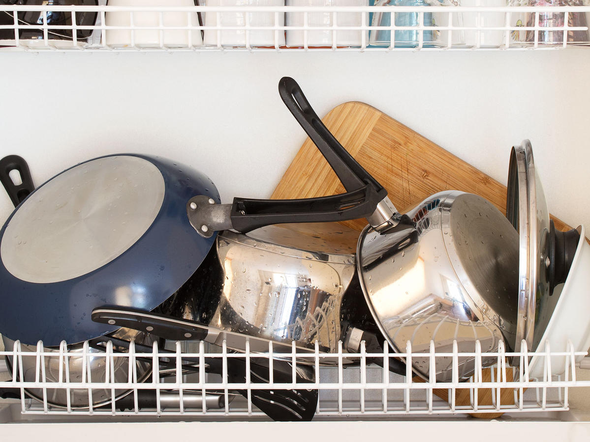 cluttered cabinet space