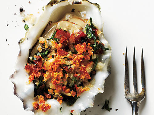 roasted oysters with pancetta