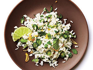 Start with 2 cups unseasoned hot cooked long-grain white rice simmered in water. Choose your favorite flavor, and proceed with the following recipes.First up is Thai Cilantro and Serrano Rice. Heat a small skillet over medium-high heat. Add 1 tablespoon canola oil; swirl. Add 1 tablespoon grated peeled fresh ginger, 1 tablespoon sliced garlic, and 2 serrano chiles, seeded and thinly sliced; sauté 1 minute. Stir ginger mixture, ¾ cup chopped cilantro, and ¼ teaspoon kosher salt into rice.See Nutritional Analysis