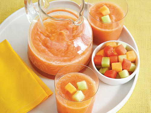 Melons are at their peak season June through September. Make this smoothie with ripe, in-season fruit for a great-tasting, refreshing drink when the weather's hot. Garnish with additional diced melon, if desired.