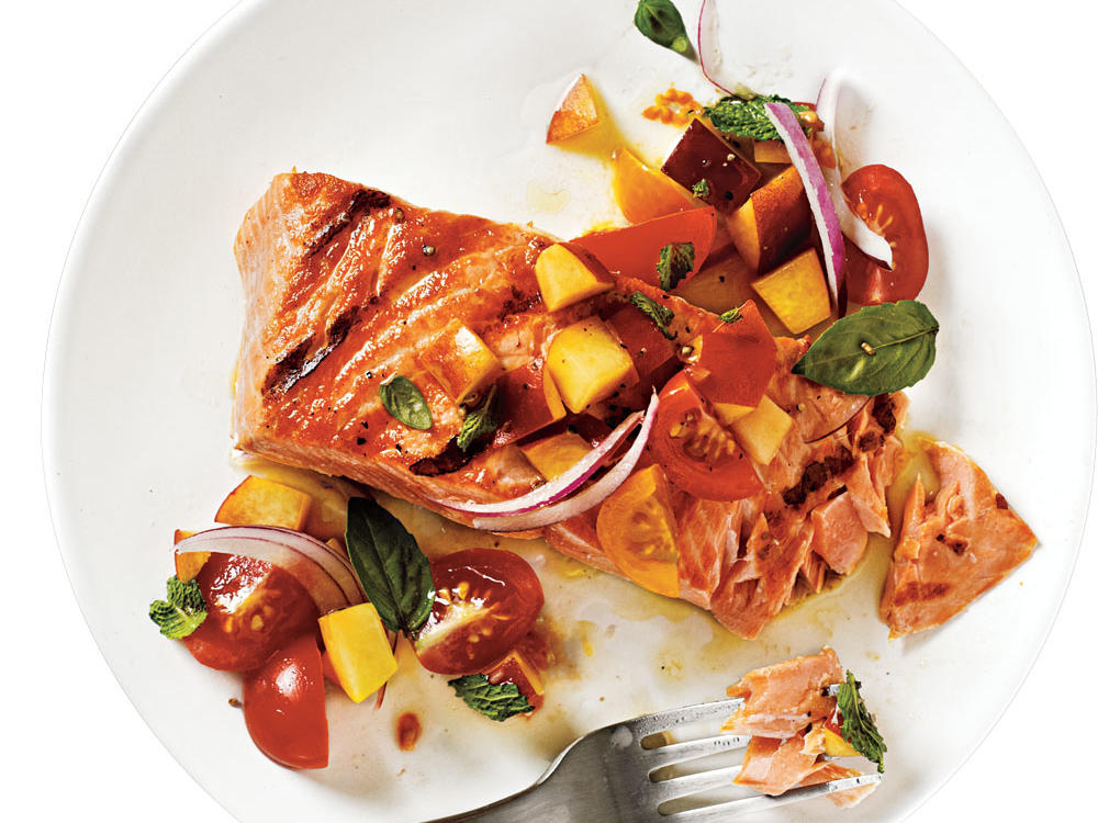 Use a peach that's just ripe so it's juicy but still holds its shape. King (also called -chinook) salmon is the best quality and works well in this dish, though sockeye works.