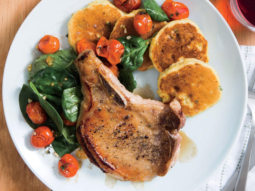 Honey-Glazed Pork Chops with Tomato Salad