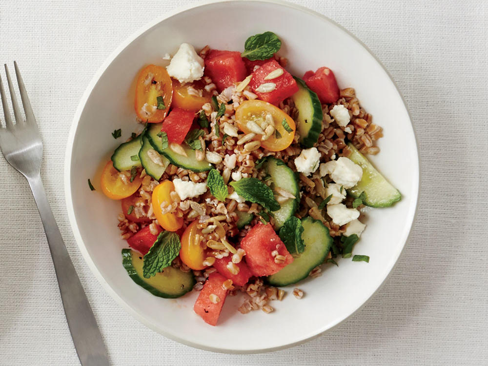 1409 Wheat Berry Salad with Melon and Feta
