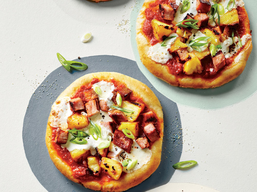 Grilled Individual Hawaiian Pizzas