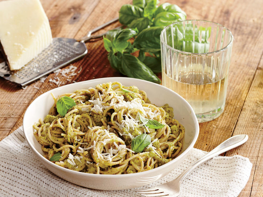 This nut-free pesto trades traditional pine nuts and Parmesan for broccoli and nutty-tasting pecorino Romano. Anchovy fillets add meatiness, but you can skip them if you like.