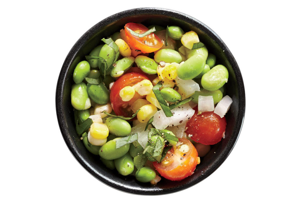 Fresh corn, sweet onion, cherry tomatoes, and chopped basil make this succotash a tasty summertime side.