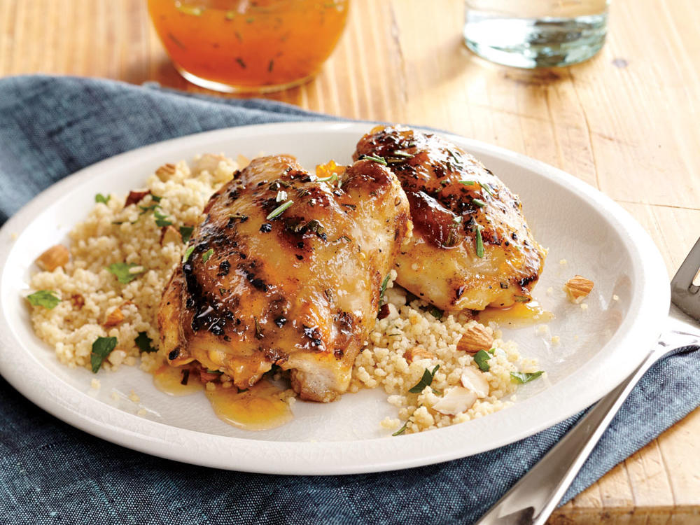 Apricot-Rosemary Chicken Thighs with Roasted Almond Couscous