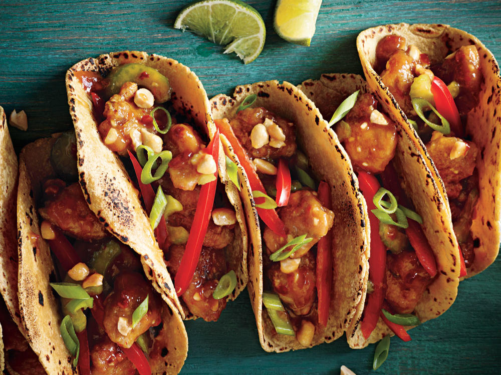 Rev up dinner with tangy, smoky, or fiery flavors. Taking inspiration from those hip Korean taco trucks, we took a mixture usually served over rice and stuffed it into blistered tortillas.