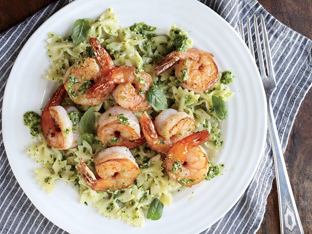 1410 Shrimp Farfalle with Arugula Pesto