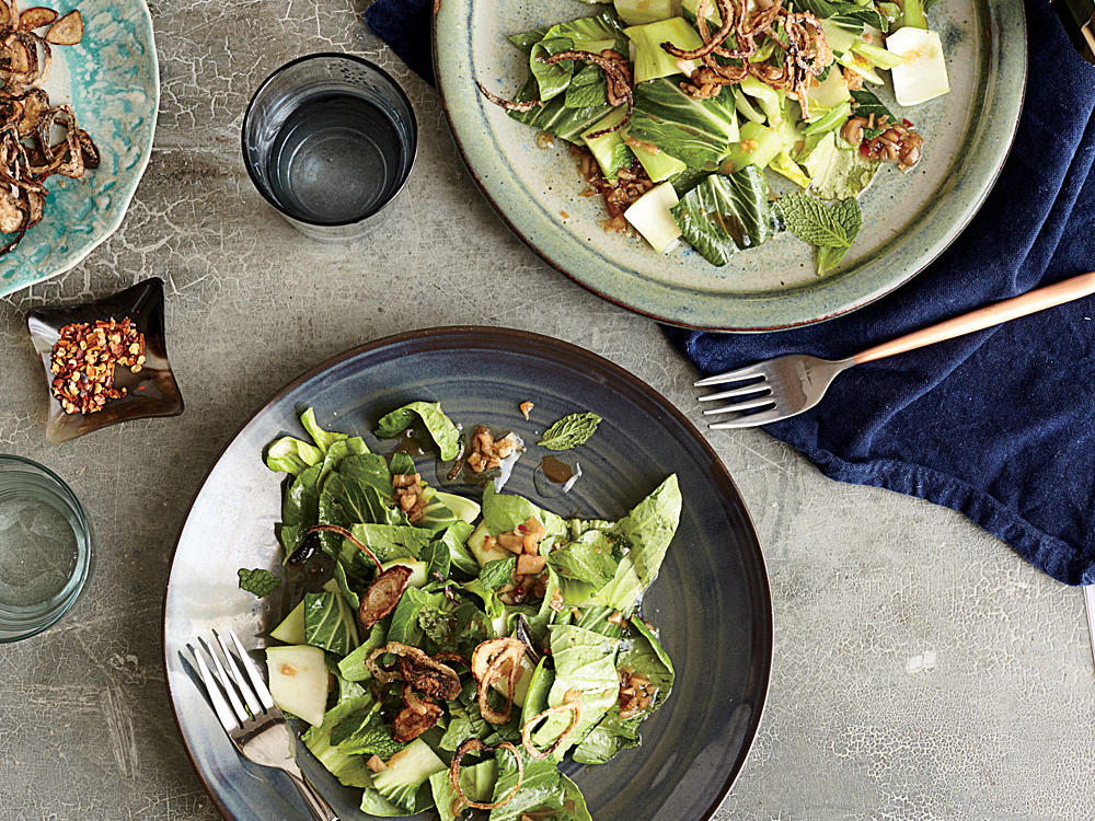 Bok Choy Salad with Fried Shallots