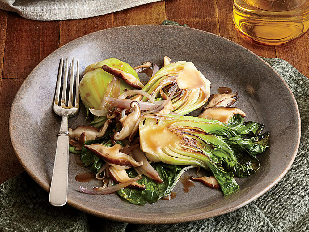 mirin braised bok choy with shiitake mushrooms