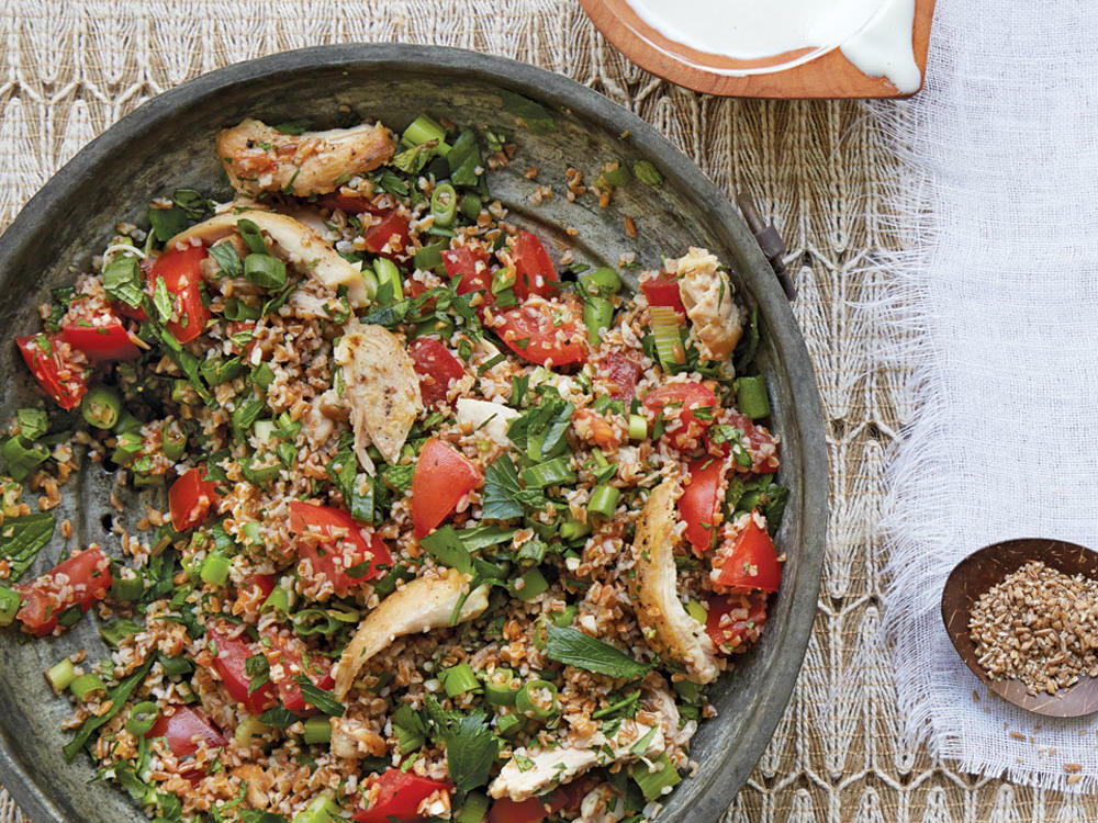 chicken tabbouleh with tahini drizzle recipe