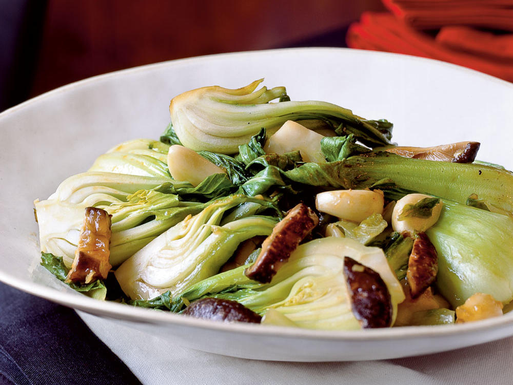 stir fried bok choy and lettuce with mushrooms recipe