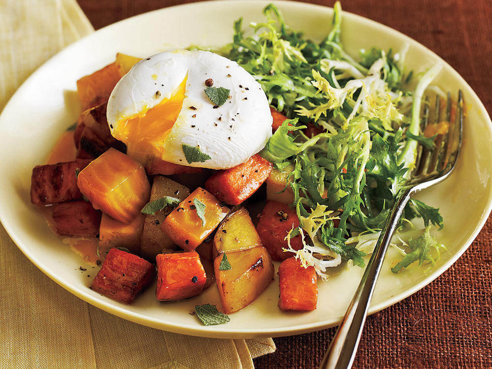 Two Potato and Beet Hash with Poached Eggs and Greens