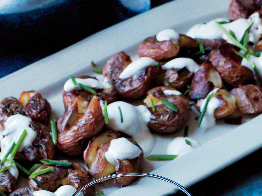 Crispy Smashed Potatoes with Chive Sour Cream