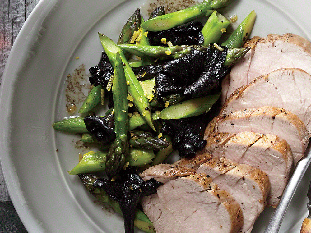 sauteed black trumpets with asparagus and lemon recipe