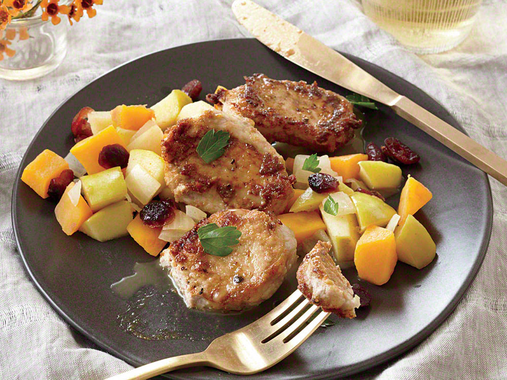 Quick and easy pork recipes cooking light pork cutlets with butternut squash apple and cranberry saut forumfinder Choice Image