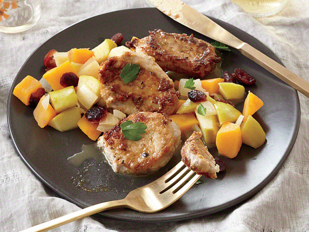Pork Cutlets with Butternut Squash, Apple, and Cranberry Sauté
