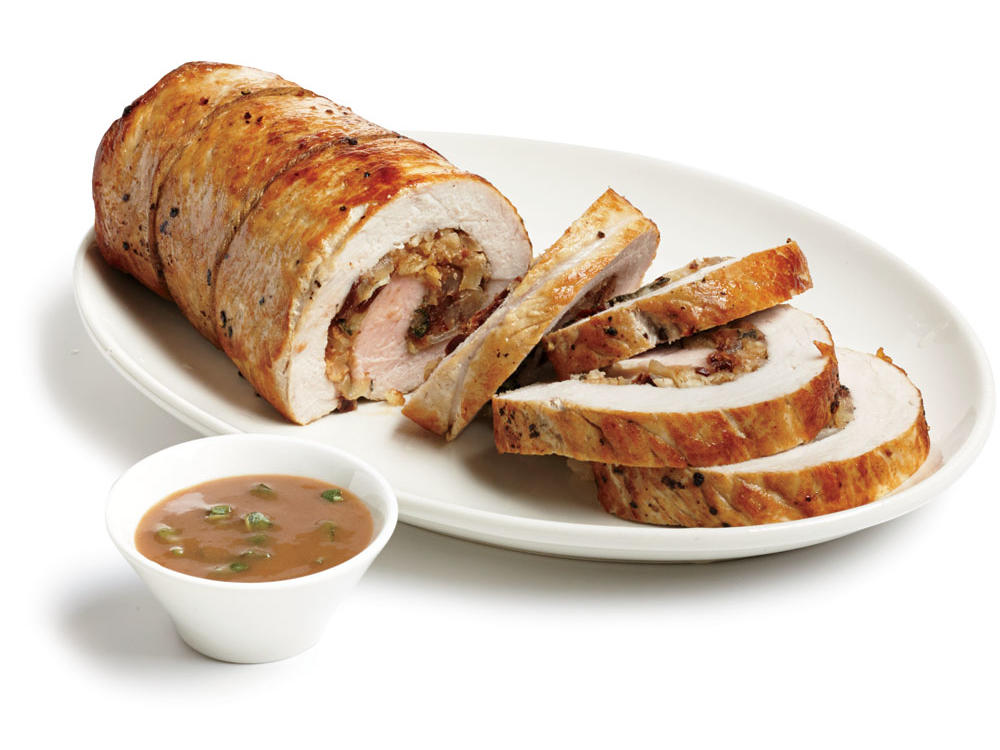 Roast Stuffed Pork Loin with Port Sauce