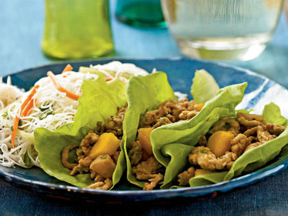 chinese chicken and persimmon lettuce wraps recipe