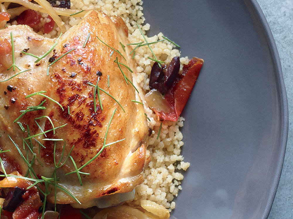 Leftover Orange and Tomato Simmered Chicken with Couscous