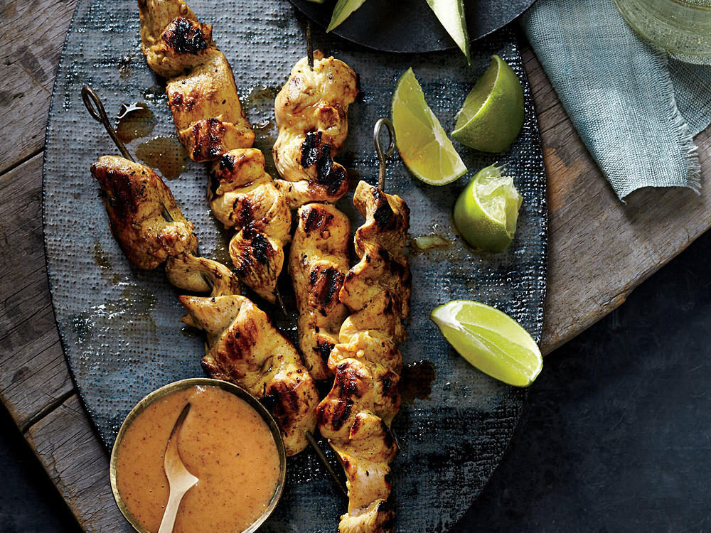 You can make the dipping sauce and add the chicken to the marinade before you leave for work in the morning, so you only need to skewer the chicken and grill when you get home.