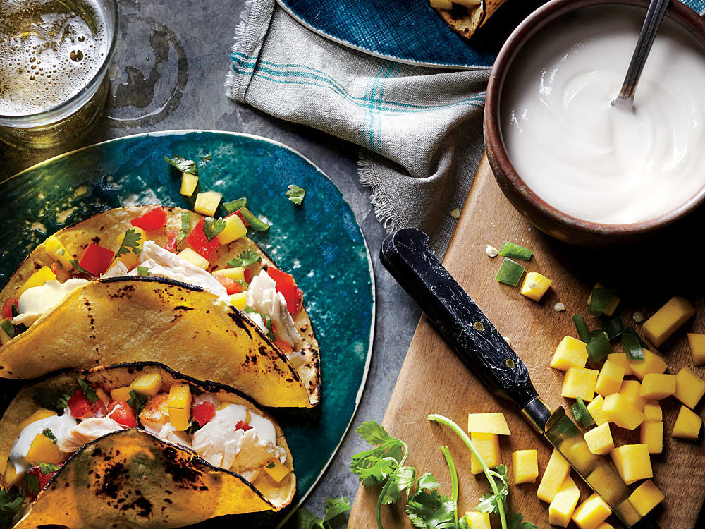 Shredded Chicken Tacos with Mango Salsa