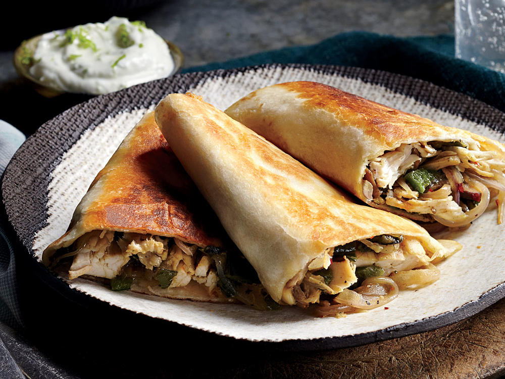 Poblano, Chicken, and Mushroom Quesadillas
