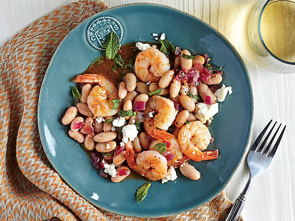 roasted shrimp with white beans and feta recipe