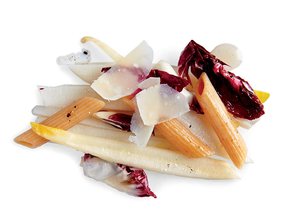 This easy-to-make side salad gets its full flavor from a combination of multigrain penne pasta, bitter radicchio pieces and fresh grated pecorino Romano cheese.