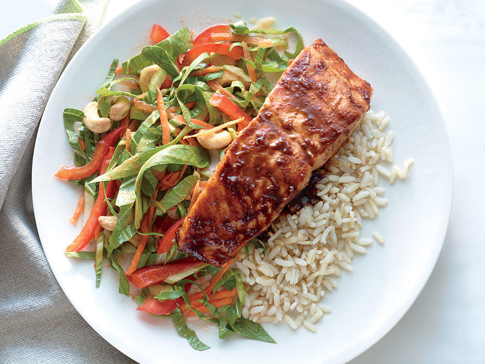January/February: Salmon with Lime-Hoisin Glaze with Crunchy Bok Choy Slaw