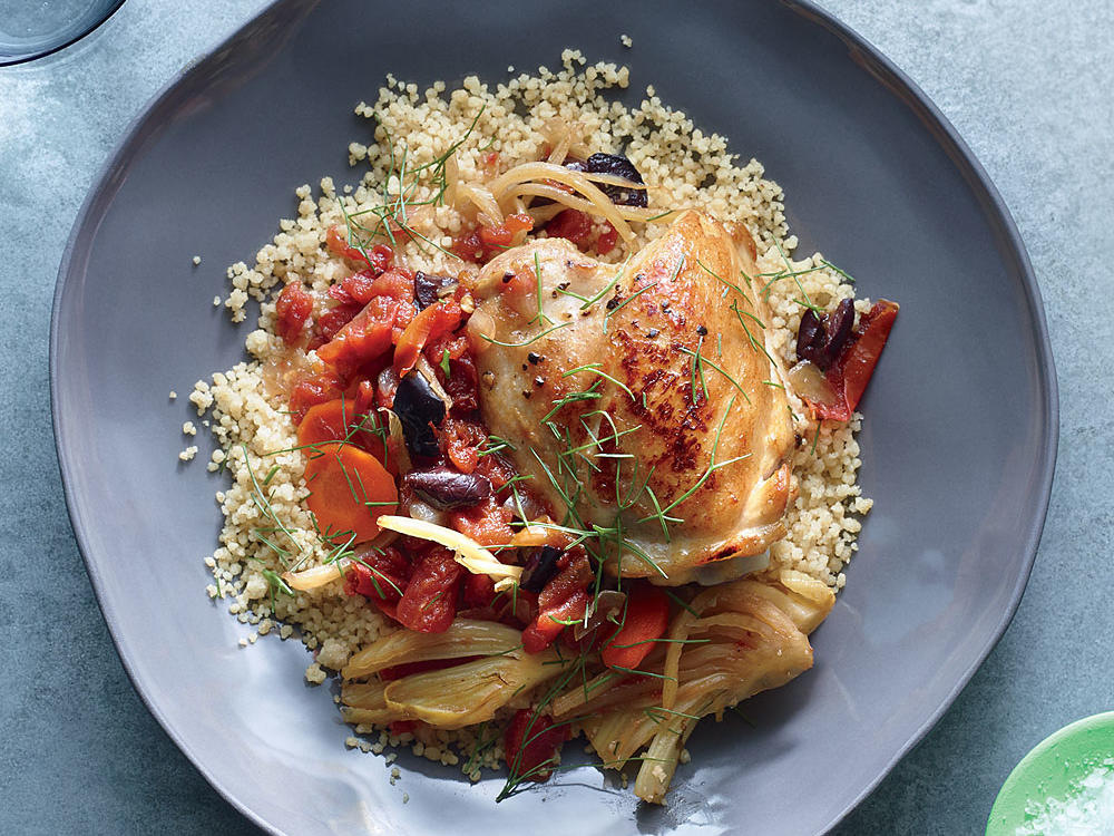 Orange and Tomato Simmered Chicken with Couscous