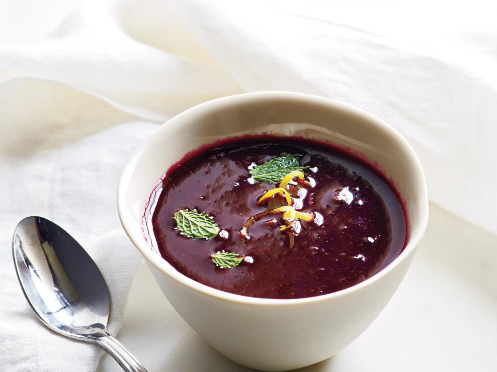 """Royal Blueberry"" Gazpacho with Lemon and Mint recipe"