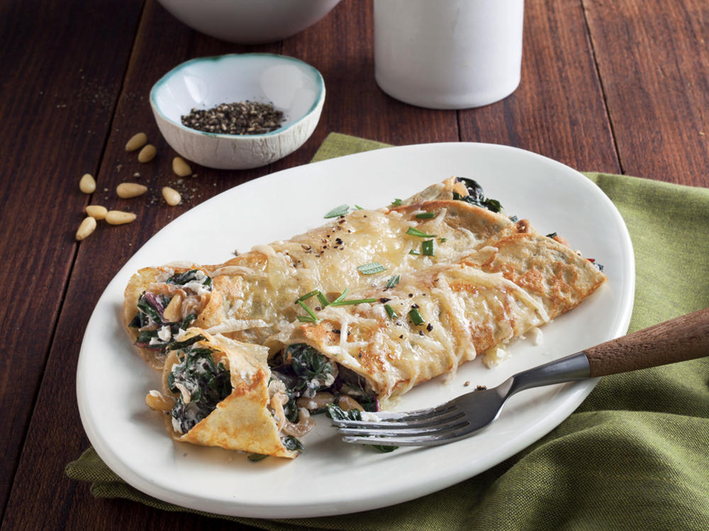 Chard, Caramelized Onion, and Gruyere Crepes