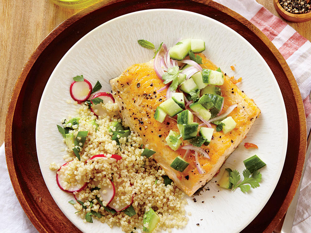 seared arctic char with cucumber relish recipe